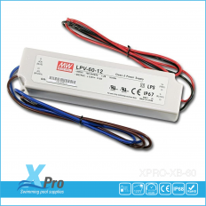 MEAN WELL LED-transformator 12 V/DC 60 W 0 - 5 A  LPV-60-12 Waterdicht (IP67) -