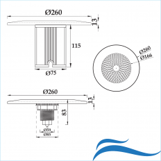 Moderna lámpara de piscina ABS + LED para piscinas de fibra de vidrio y hormigón  25 - 35 W -